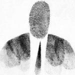"""Passport Photo,"" 1953, by Saul Steinberg. Fingerprint on paper. Originally published in ""Steinberg, The Passport,"" 1954"