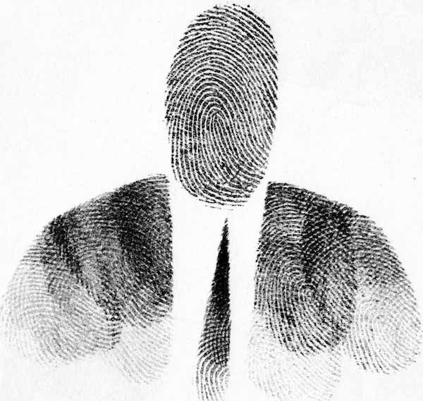 """Passport Photo,"" 1953, by Saul Steinberg. Fingerprint on paper. Originally published in ""Steinberg, The Passport,"" 1954"