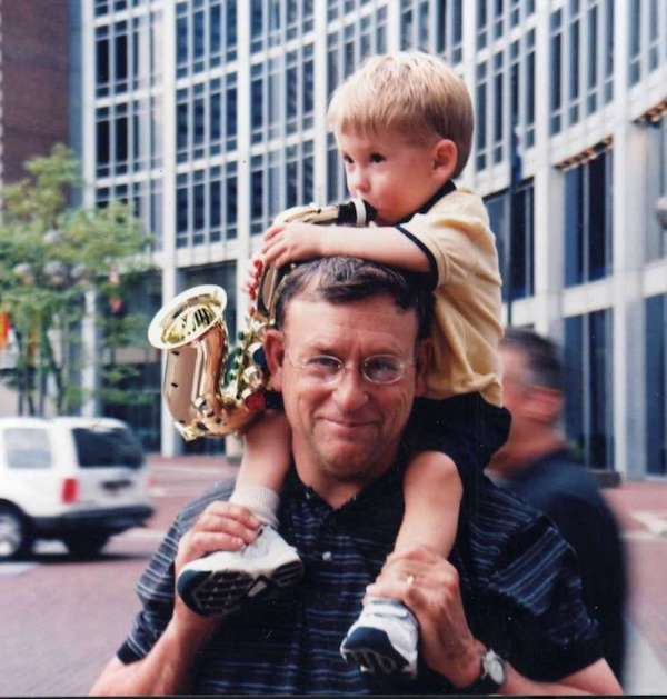 Mark Vonnegut, MD, and his son, Oliver.