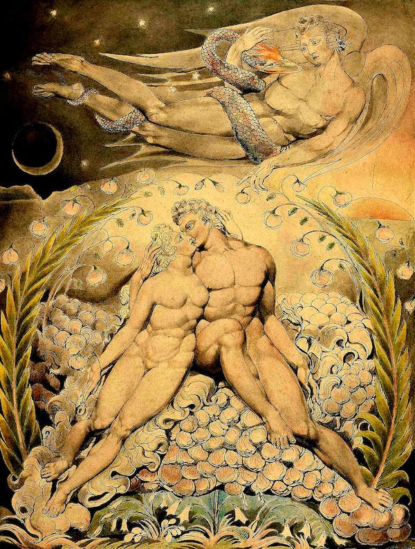 """""""Satã observando o amor de Adão e Eva,"""" by William Blake (1757–1827)."""