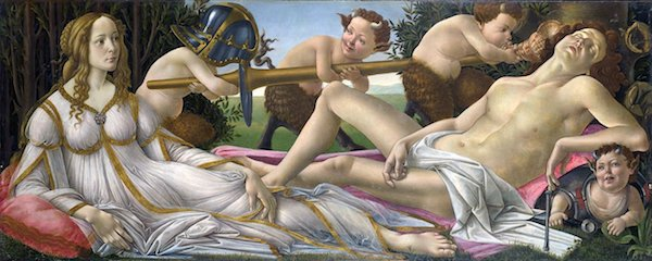 """""""Venus & Mars,"""" panel painting by Sandro Botticelli, c. 1485, The National Gallery, London."""