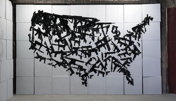 """""""Gun Country,"""" an art installation made of 150 toy guns, by sculptor Michael Murphy."""