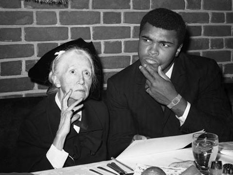 Poet Marianne Moore and Muhammad Ali, at Toots Shor's in Manhattan.