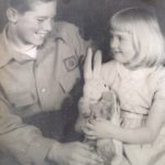 My brother Tom and I in 1944 or 5: he was eight years older (Thomas Arnold Farr, 9 July 1932-22 June 2010).