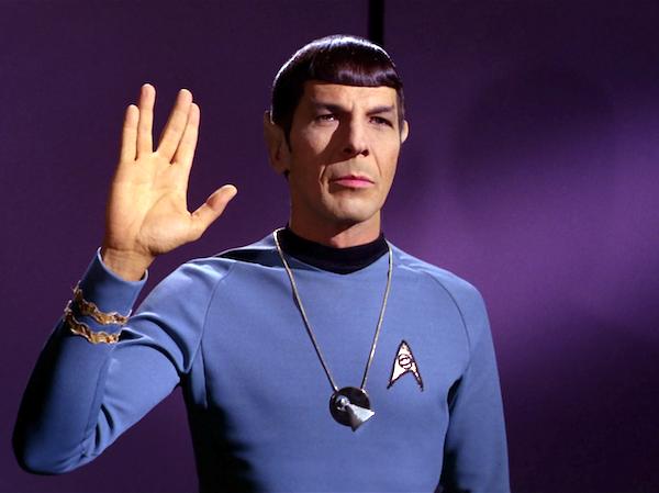 "Leonard Nimoy, as Spock: ""Live long and prosper."""