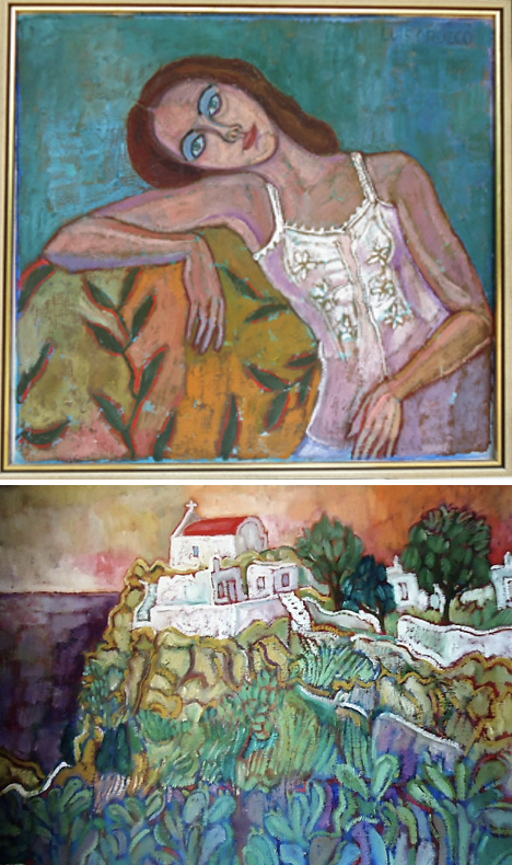 """Bebe,"" painted in 1977; and ""Aghios Iakovos,"" where the author lived in the mid-80s, painted in 1986."
