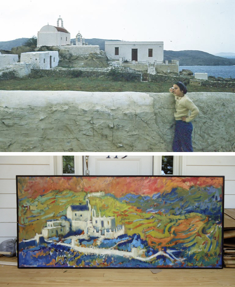 """Bebe"" Herring, on the Platy Yialos road, with Aghios Iakovos in the background; and, ""Aghios Iakovos,"" by Luis Orozco, 1961, one of my father's first purchases, and the canvas Luis painted to woo Lilly Kristensen."