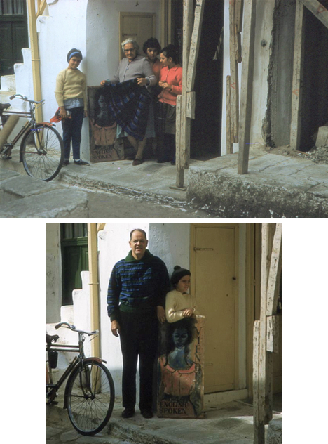 The author, at ten, with Vienoula, and young Mykonian weavers, outside her shop in Hora; F. Jack Herring, the author's father, wearing a pullover woven by Vienoula (in a palette designed by Luis Orozco) and the author, holding the shop sign just painted by Orozco.