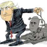 In his master's monstrous shadow. (Cartoon by Daryl Cagle[http://www.cartooningforpeace.org/en/dessinateurs/daryl-cagle/].)