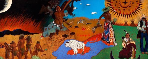 """Epochs in Plains History: Mother Earth, Father Sun, the Children Themselves"" (1976–77), oil on canvas by T.C. Cannon."