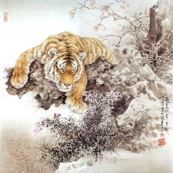 Tigers in a Bamboo Grove (detail), mid-1630s, Kano Tan'[http://asianartnewspaper.com/ink-and-gold-art-of-the-kano/].