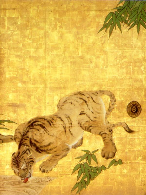 Tigers (from a set of panel paintings for the abbot's chamber at Nanzenji) by Kano Tan'yu, 17th century, Nanzenji, Kyoto.