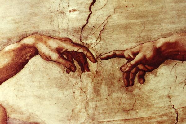 """""""Creazione di Adamo,"""" fresco by Michelangelo, Sistine Chapel, c. 1508–1512."""