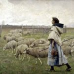 """The Return of the Flock,""or ""Shepherdess,"" by C. Sprague Pearce, 1885."