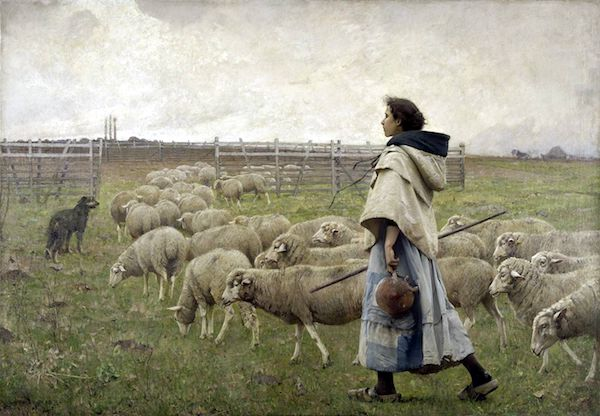"""The Return of the Flock,""or ""Shepherdess,"" by C. Sprague Pearce, 1885."