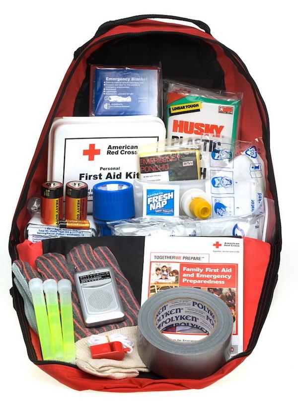 "A Red Cross ""ready to go"" preparedness kit."