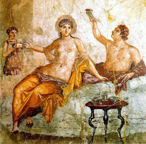 Idealized Greek Drinking Party, fresco from Herculaneum (AD 50-79), National Archaeological Museum, Naples. (Photo by Ferrari et al).