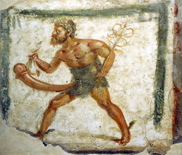 Priapus, depicted with the attributes of Mercury, in a fresco found at Pompeii, National Archaeological Museum, Naples.