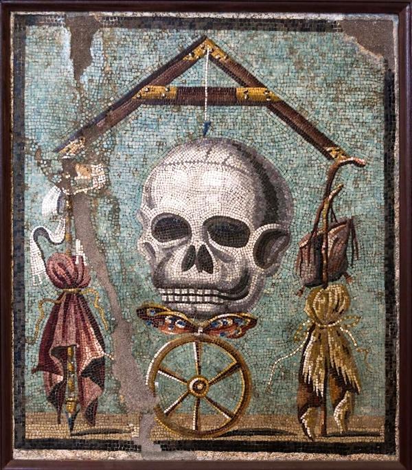 """MementoMori,""mosaic from Pompeii(1585), unknown artist."