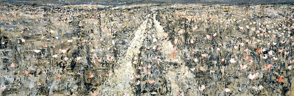 """Bohemia Lies by the Sea,"" by Anselm Kiefer, 1996, oil, emulsion, shellac, charcoal, and powdered paint on burlap."