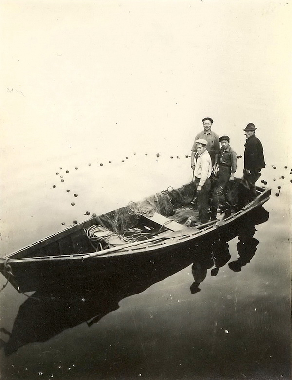 Hand-net fishing, about 1912.