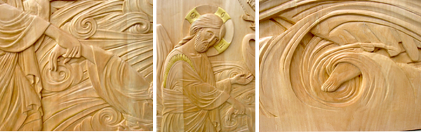 """Christ Pulls St-Peter from the Waters,"" Linden and gilding, Carved by Jonathan Pageau."