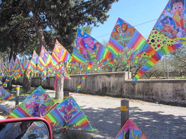 Sidewalks turn into kite bazaars all over Athens for Clean Monday.